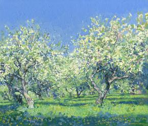 Simon Kozhin. Apple tree in bloom. Kolomenskoye. 2014 Oil on canvas on cardboard, oil. 30 x 35 cm.