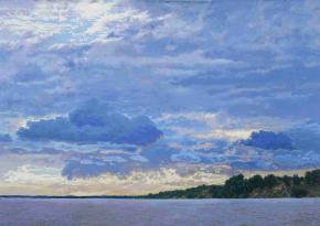 Simon Kozhin. Sunset on the Volga. Gorodets.