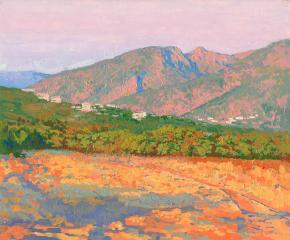 Семён Кожин. Закат в горах Малия. Крит. 2012. Холст на картоне, масло.  25 х 30 см.