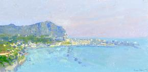 Simon Kozhin. Sunset in the commune Forio.  Ischia. Italy. Of 2013. Oil on canvas on cardboard, oil. 20 x 40 cm.