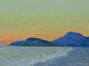 Simon Kozhin. Sunset in Sutomore. Montenegro. 2014 Oil on canvas and painting on canvas. 15 x 20 cm.